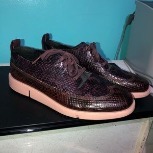 Clarks snake print shoes